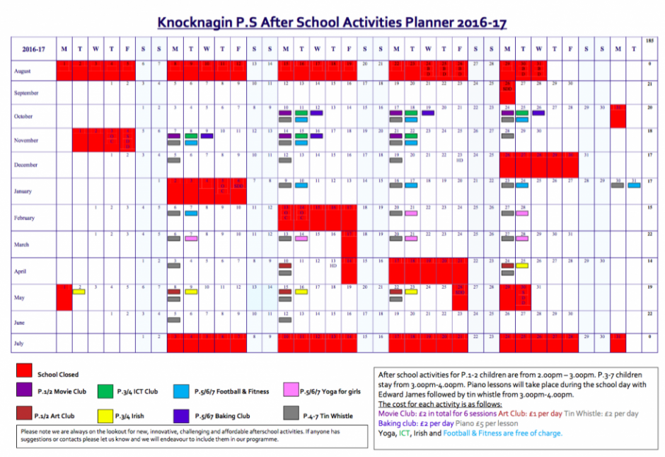 At Knocknagin PS we aim to provide fun, affordable, child centred clubs. Anyone who has suggestions on how we can improve our after school provision please contact any member of staff or our school council.